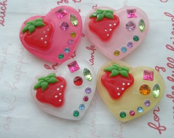 sale Strawberry and rhinestones on Heart cabochons set 4pcs