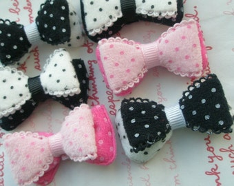 Fluffy Polka dots double lacey bow appliques SET 6pc