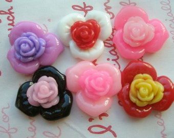 Colorful Double flower cabochons 6pcs