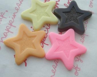 Flat Star Chocolate cabochon 4pcs