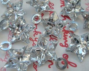 SALE Clear Shiny Star gem charms 10pcs