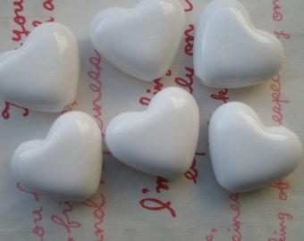Puffy Heart BEADS 6pcs PH White