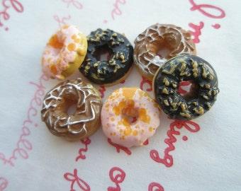 sale Miniature Doughnut cabochons 6pcs