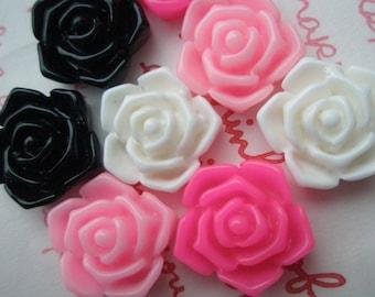 sale Open Rose bud cabochons 8pcs 16mm 4 colors T-TA2-M