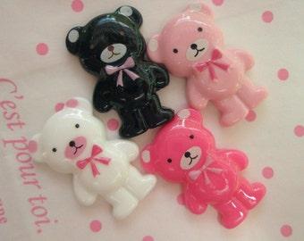 sale Bowtie Teddy bear cabochons 4pcs