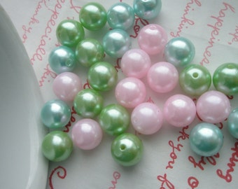 ASSORTED COLORFUL  Pearlized round BEADS 10mm 30pcs TA-2