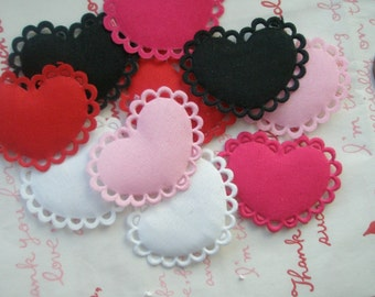 sale Flat Lacey Heart shaped  Appliques 10pcs MIX 5 colors