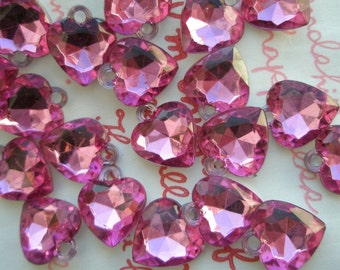 SALE Small Clear HOT PINK faceted Heart gem charms 20pcs