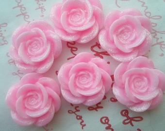SALE Glitter Pretty rose cabochons 6pcs MJ 003 20mm PINK