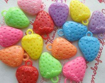 SALE Plastic Strawberry charms assorted colors 10pcs