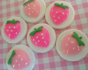 SALE Strawberry Disc Cabochons Set 6pcs