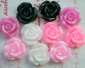 TA-011  Rose cabochons 10pcs 17mm GLITTER