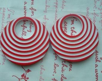 Retro 80s stripe Big Hoop acrylic pendant ring 1pc RED Last piece left in stock