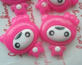 SALE  PINK Kitty Girl cabochons Set 4pcs