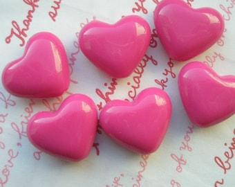 Puffy Heart BEADS 6pcs PH Hot Pink