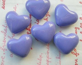 Puffy Heart BEADS 6pcs PH Purple