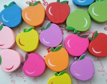 Apple WOODEN beads Assorted colors 15pcs