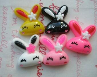 SALE Funny Bunny cabochons 5pcs