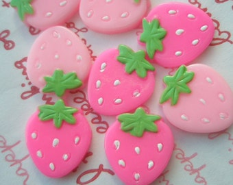 SALE Strawberry cabochon Set 8pcs B Pink tone