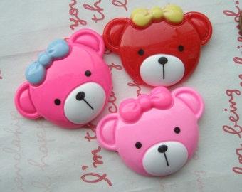 BIG colorful Teddy bear cabochons (Head)3pcs