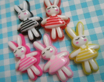 SALE Sleeping Bunny cabochons Set 5pcs