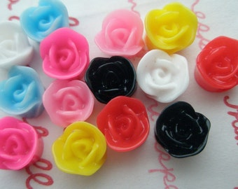 Colorful Tiny rose cabochons 8mm 14pcs TA-XS