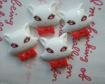 sale Snobby Kitty with Red bow cabochons 4pcs