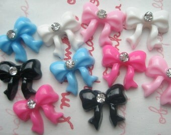 Tiny Mini Bow cabochons with rhinestones 10pcs 5 colors (Blue Pink Hotpink White Black)