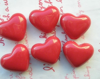 Puffy Heart BEADS 6pcs PH RED
