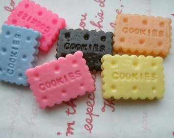 SALE Cookie biscuit cabochons Set  B 6pcs