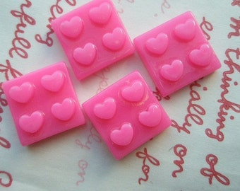 sale Square and hearts cabochons 4pcs HOT PINK