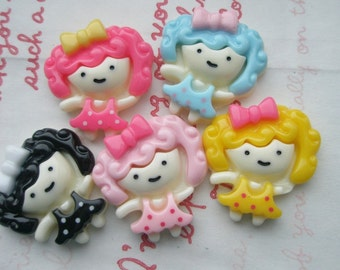 SALE Curly hair GIRL with BOW Cabochon set C 5pcs
