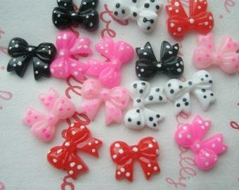 Tiny Mini Polka dots Butterfly bow cabochons 12pcs 5 colors