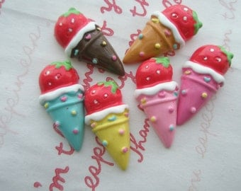 sale Colorful ice ream cones cabochons Strawberry on top  6pcs