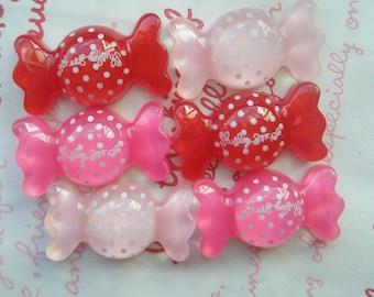 sale Puffy polka dots Candy cabochons 6pcs