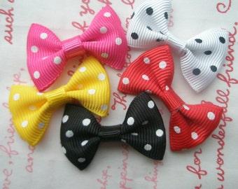 Bright Polka dots bow ribbon Set B 5pcs