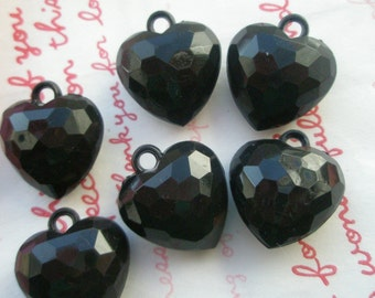 SALE Chunky Puffy Faceted Hear Charms 6pcs Black