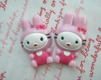 SALE SALE Cute BIG Bunny cabochons 2pcs Pink 42mm x 27mm