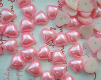 PINK Pearlized Heart cabochons 20pcs 12mm