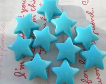 Chunky Puffy Star beads 10pcs Blue
