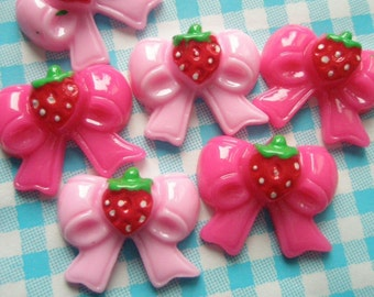 Strawberry pink bow cabochons 2 colors 6pcs