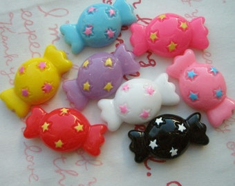 Colorful Candy with Star dots cabochons set 8pcs