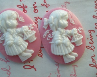 Girl with basket Cameo 2pcs  (40mm X 30mm) PINK HIGHT QUALITY