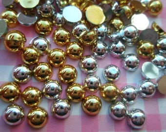 Shiny Gold Silver Mix round cabochons 2 Grams over 100pcs 4mm