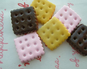 SALE Square Cookie Biscuit cabochons Set C 6pcs TA-C