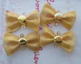 sale Medium Bow Connector 4pcs GOLD plated