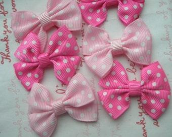 Pink Tones polka dots bow ribbons MIX 6pcs Hot pink Pink