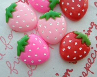 sale Strawberry cabochons Set 6pcs Pink Red Hot pink 3 colors