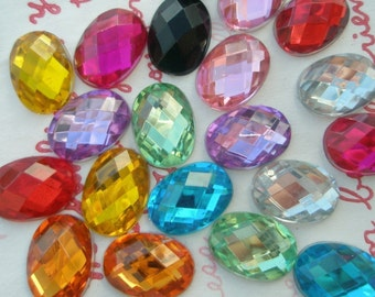 Colorful OVAL Faceted gems cabochons 20pcs Size--S