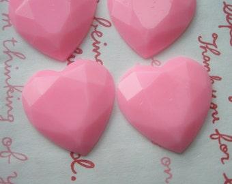 B Grade Pink Heart cabochons 4pcs